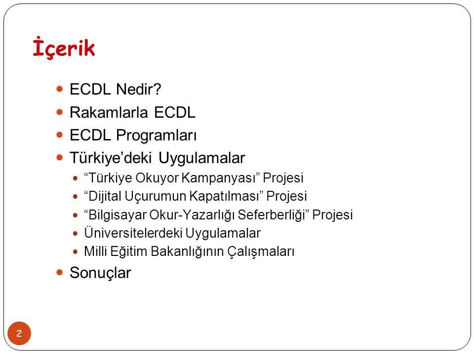 """2 İçerik ECDL Nedir? Rakamlarla ECDL ECDL Programları Türkiye'deki Uygulamalar """"Türkiye Okuyor Kampanyası"""" Projesi """"Dijital Uçurumun Kapatılması"""" Proj"""