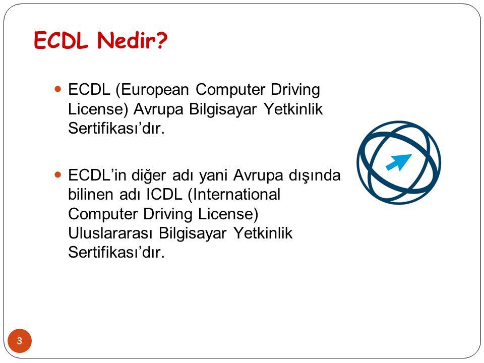 3 ECDL Nedir? ECDL (European Computer Driving License) Avrupa Bilgisayar Yetkinlik Sertifikası'dır. ECDL'in diğer adı yani Avrupa dışında bilinen adı