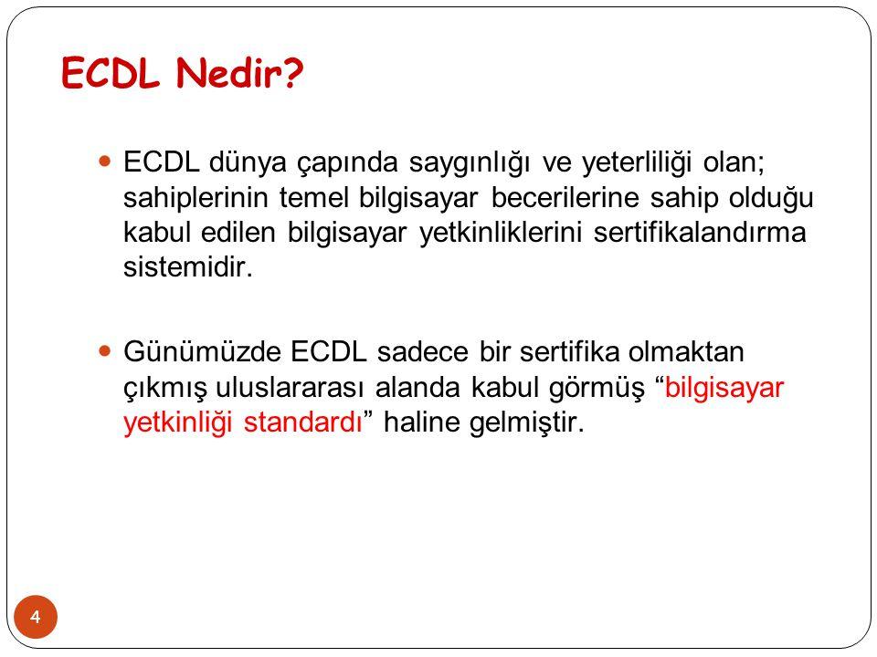 4 ECDL Nedir? ECDL dünya çapında saygınlığı ve yeterliliği olan; sahiplerinin temel bilgisayar becerilerine sahip olduğu kabul edilen bilgisayar yetki