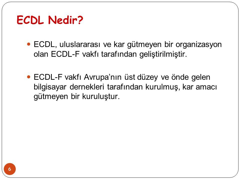 6 ECDL Nedir? ECDL, uluslararası ve kar gütmeyen bir organizasyon olan ECDL-F vakfı tarafından geliştirilmiştir. ECDL-F vakfı Avrupa'nın üst düzey ve