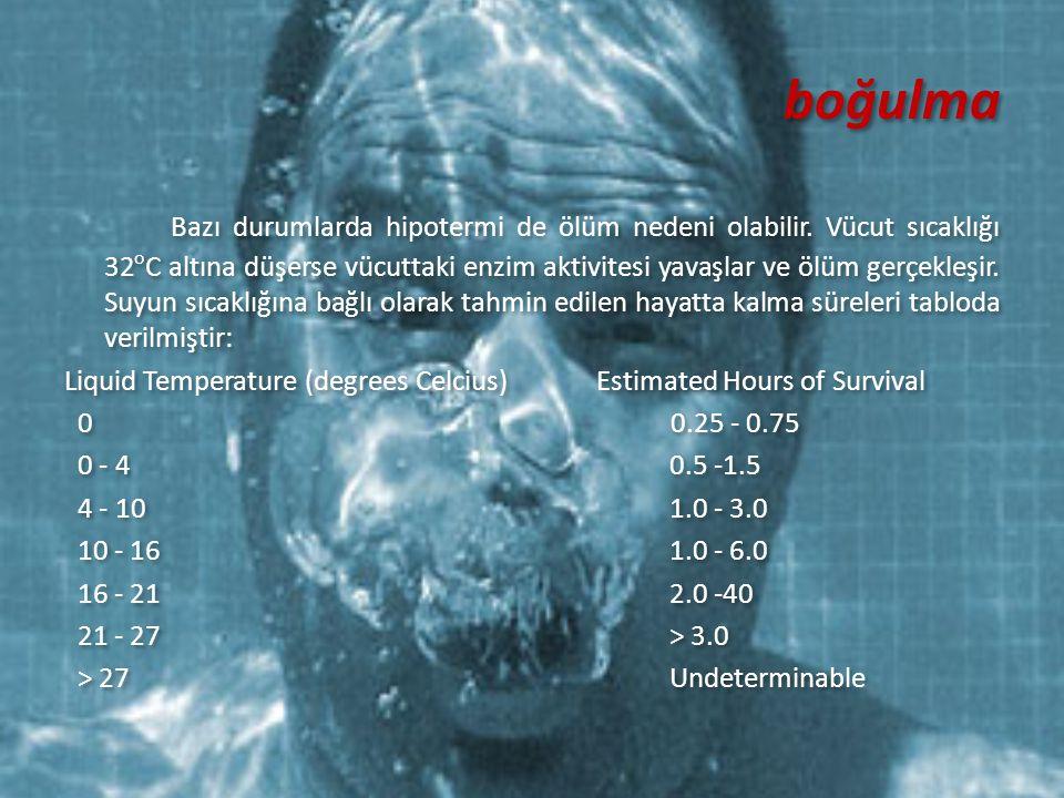boğulma Bazı durumlarda hipotermi de ölüm nedeni olabilir. Vücut sıcaklığı 32 o C altına düşerse vücuttaki enzim aktivitesi yavaşlar ve ölüm gerçekleş