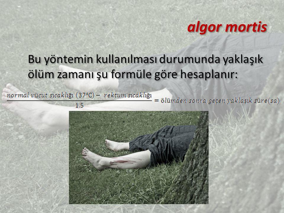 RIGOR MORTIS (Ölüm sonrası kas faaliyetleri) Genellikle ölümden 3 saat sonra yüz ve göz kapağı kaslarında sertleşme gözlenir.