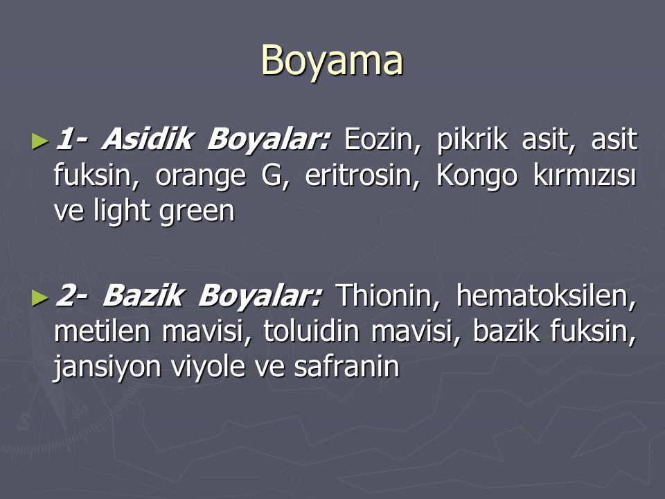 Boyama ► 1- Asidik Boyalar: Eozin, pikrik asit, asit fuksin, orange G, eritrosin, Kongo kırmızısı ve light green ► 2- Bazik Boyalar: Thionin, hematoks