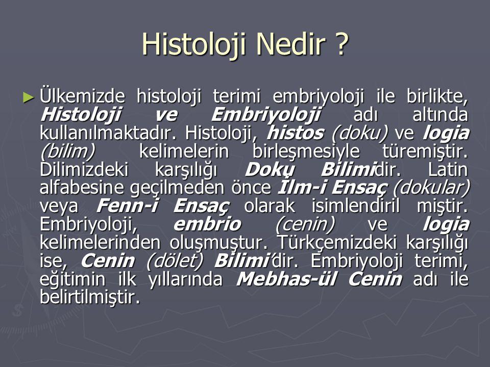 Histoloji Nedir ? ► Ülkemizde histoloji terimi embriyoloji ile birlikte, Histoloji ve Embriyoloji adı altında kullanılmaktadır. Histoloji, histos (dok