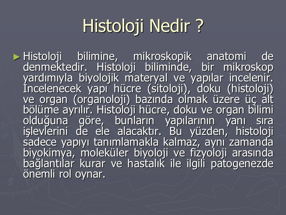 Histoloji Nedir ? ► Histoloji bilimine, mikroskopik anatomi de denmektedir. Histoloji biliminde, bir mikroskop yardımıyla biyolojik materyal ve yapıla