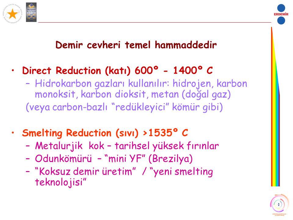 Demir cevheri temel hammaddedir Direct Reduction (katı) 600º - 1400º C –Hidrokarbon gazları kullanılır: hidrojen, karbon monoksit, karbon dioksit, met