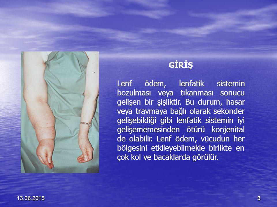 13.06.201534 Genital Lenf Ödemin Klinik Özellikleri Şişme: Şişme: Erkeklerde penis ve skrotum veya her biri bağımsız olarak şişebilir.