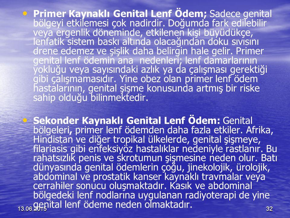 13.06.201532 Primer Kaynaklı Genital Lenf Ödem; Sadece genital bölgeyi etkilemesi çok nadirdir. Doğumda fark edilebilir veya ergenlik döneminde, etkil