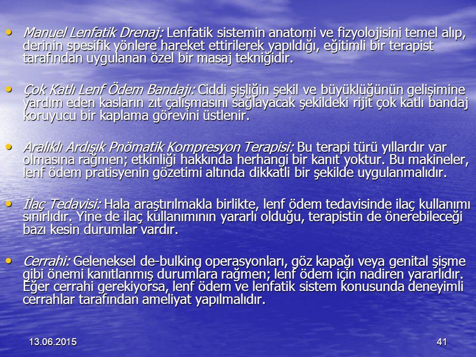 13.06.201541 Manuel Lenfatik Drenaj: Lenfatik sistemin anatomi ve fizyolojisini temel alıp, derinin spesifik yönlere hareket ettirilerek yapıldığı, eğ