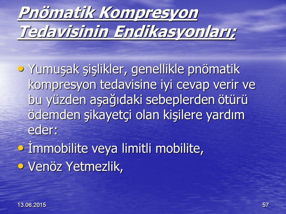 13.06.201557 Pnömatik Kompresyon Tedavisinin Endikasyonları; Yumuşak şişlikler, genellikle pnömatik kompresyon tedavisine iyi cevap verir ve bu yüzden