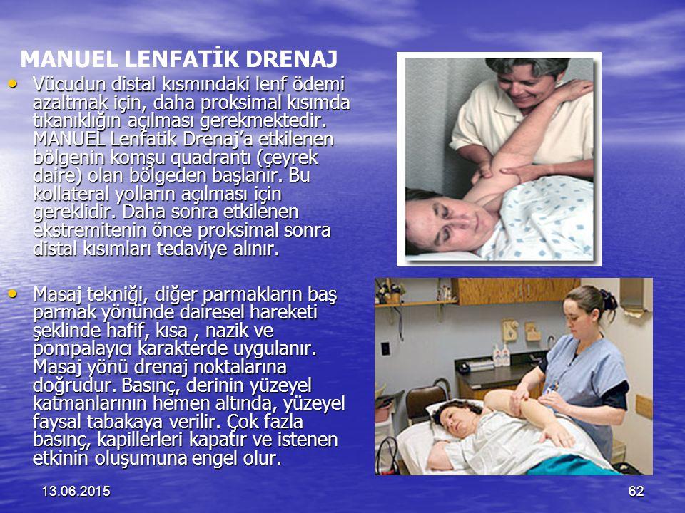 13.06.201562 MANUEL LENFATİK DRENAJ Vücudun distal kısmındaki lenf ödemi azaltmak için, daha proksimal kısımda tıkanıklığın açılması gerekmektedir. MA