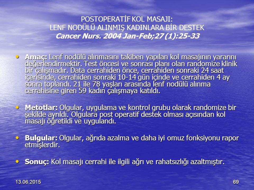 13.06.201569 POSTOPERATİF KOL MASAJI: LENF NODÜLÜ ALINMIŞ KADINLARA BİR DESTEK Cancer Nurs. 2004 Jan-Feb;27 (1):25-33 Amaç: Lenf nodülü alınmasını tak