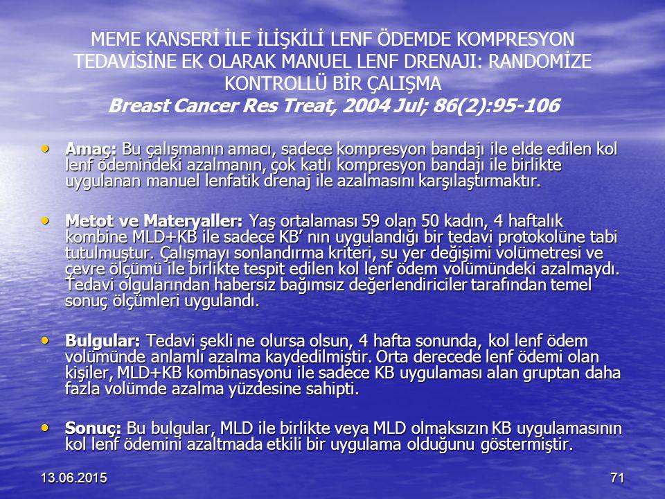 13.06.201571 MEME KANSERİ İLE İLİŞKİLİ LENF ÖDEMDE KOMPRESYON TEDAVİSİNE EK OLARAK MANUEL LENF DRENAJI: RANDOMİZE KONTROLLÜ BİR ÇALIŞMA Breast Cancer