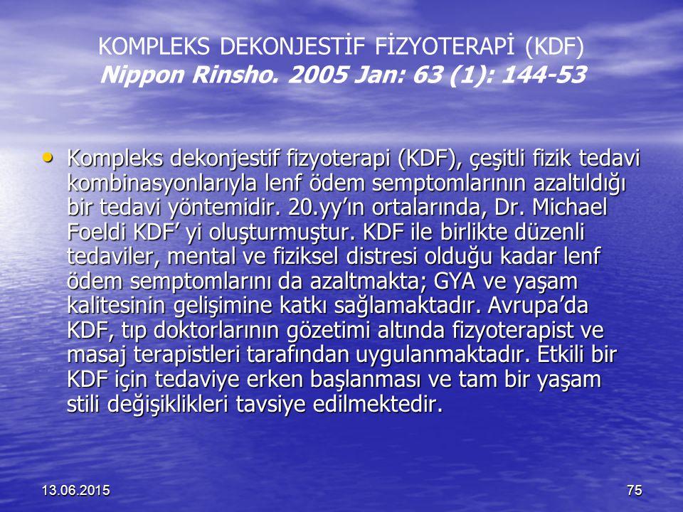 13.06.201575 KOMPLEKS DEKONJESTİF FİZYOTERAPİ (KDF) Nippon Rinsho. 2005 Jan: 63 (1): 144-53 Kompleks dekonjestif fizyoterapi (KDF), çeşitli fizik teda