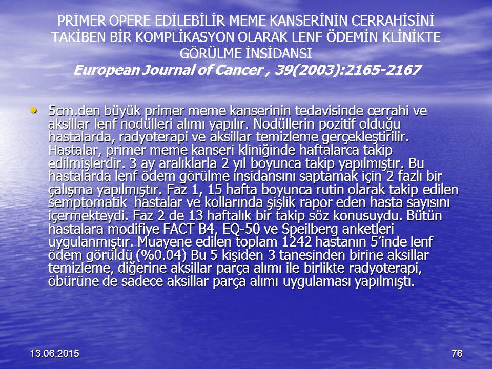 13.06.201576 PRİMER OPERE EDİLEBİLİR MEME KANSERİNİN CERRAHİSİNİ TAKİBEN BİR KOMPLİKASYON OLARAK LENF ÖDEMİN KLİNİKTE GÖRÜLME İNSİDANSI European Journ