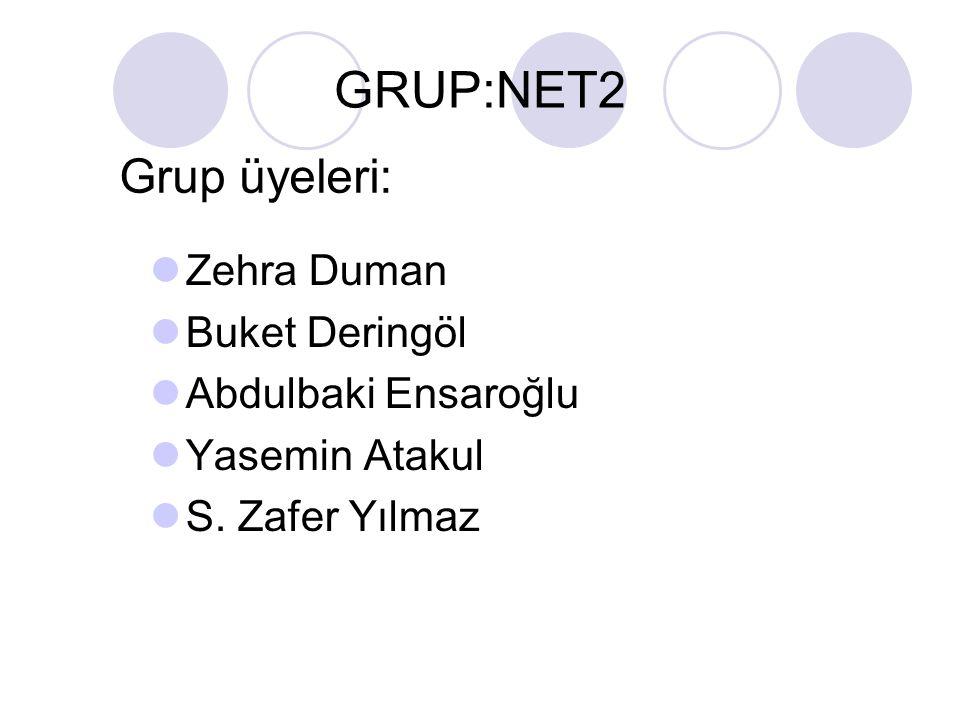 GRUP:NET2 Zehra Duman Buket Deringöl Abdulbaki Ensaroğlu Yasemin Atakul S. Zafer Yılmaz Grup üyeleri:
