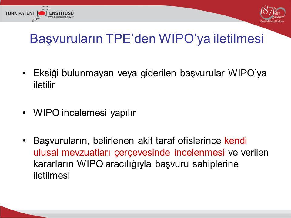 Başvuruların TPE'den WIPO'ya iletilmesi Eksiği bulunmayan veya giderilen başvurular WIPO'ya iletilir WIPO incelemesi yapılır Başvuruların, belirlenen