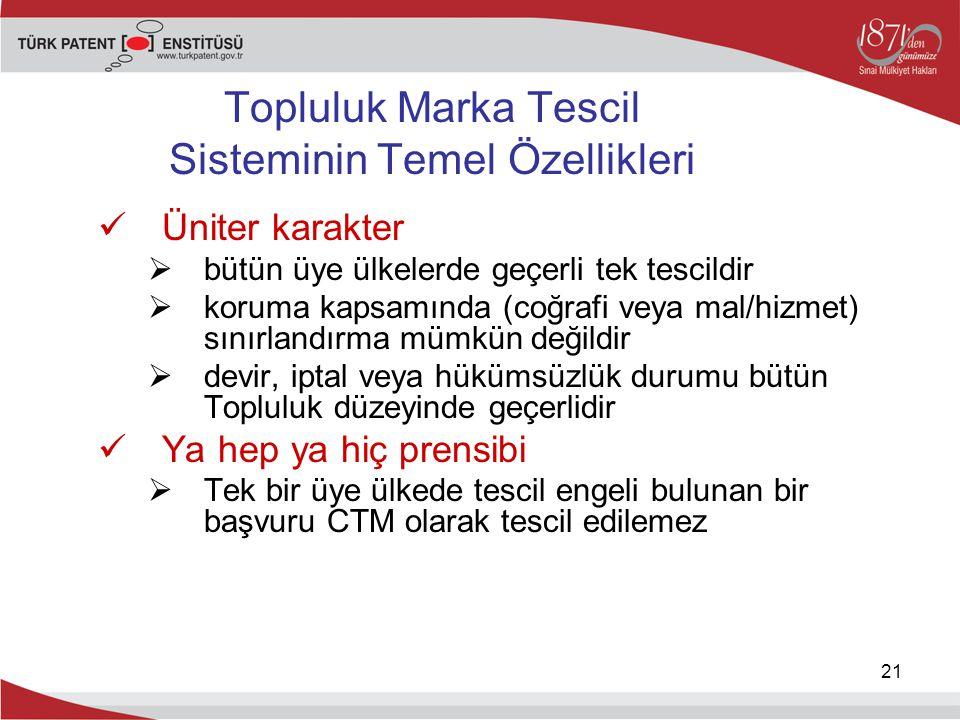 Topluluk Marka Tescil Sisteminin Temel Özellikleri Üniter karakter  bütün üye ülkelerde geçerli tek tescildir  koruma kapsamında (coğrafi veya mal/h