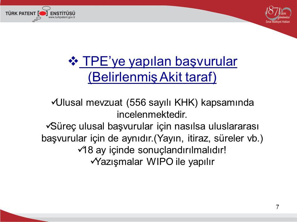 7  TPE'ye yapılan başvurular (Belirlenmiş Akit taraf) Ulusal mevzuat (556 sayılı KHK) kapsamında incelenmektedir. Süreç ulusal başvurular için nasıls