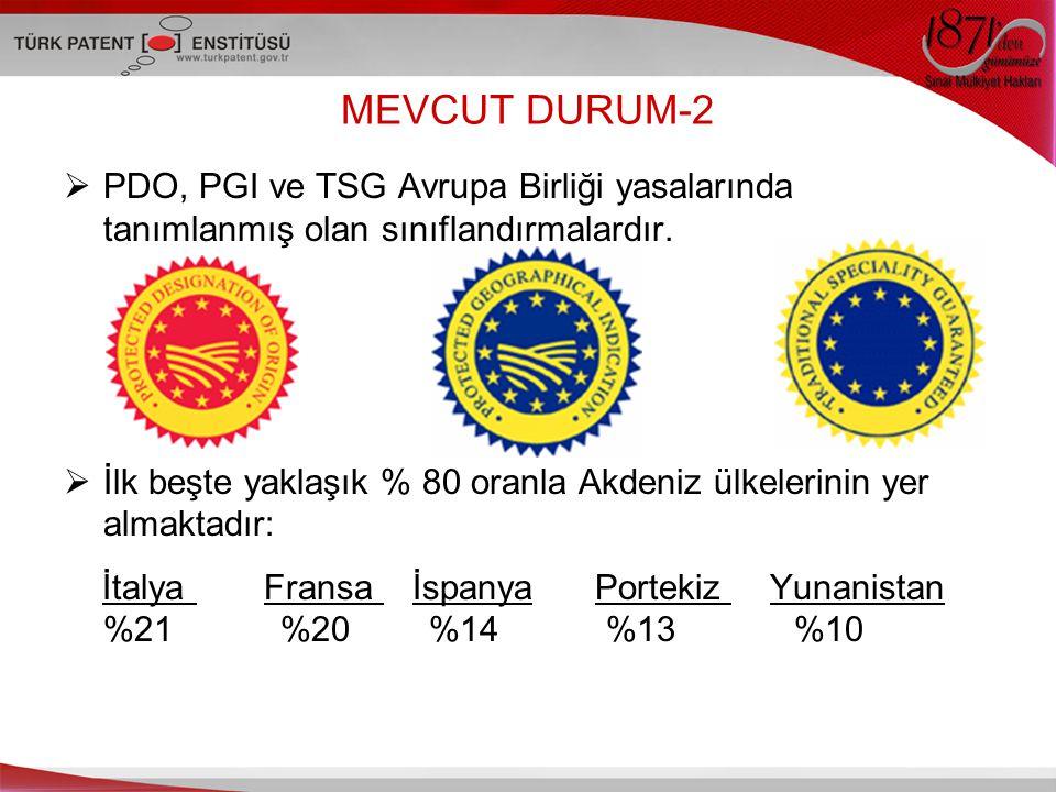 MEVCUT DURUM-2  PDO, PGI ve TSG Avrupa Birliği yasalarında tanımlanmış olan sınıflandırmalardır.
