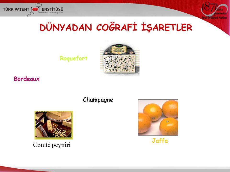 DÜNYADAN COĞRAFİ İŞARETLER Roquefort Bordeaux Champagne Jaffa Comté peyniri