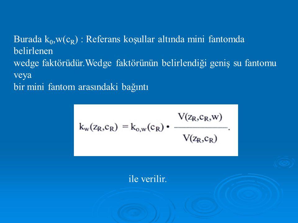Burada k 0,w(c R ) : Referans koşullar altında mini fantomda belirlenen wedge faktörüdür.Wedge faktörünün belirlendiği geniş su fantomu veya bir mini fantom arasındaki bağıntı ile verilir.