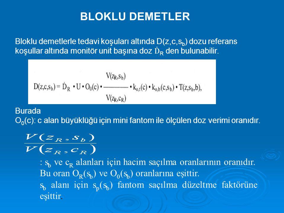 BLOKLU DEMETLER Bloklu demetlerle tedavi koşuları altında D(z,c,s b ) dozu referans koşullar altında monitör unit başına doz Ḋ R den bulunabilir.