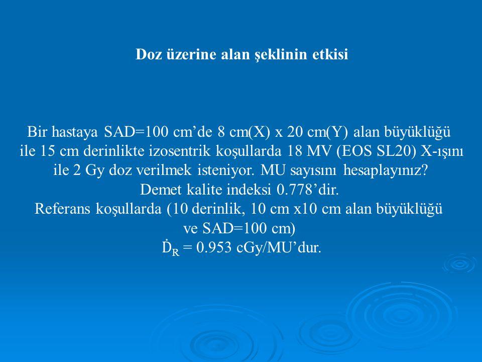 Doz üzerine alan şeklinin etkisi Bir hastaya SAD=100 cm'de 8 cm(X) x 20 cm(Y) alan büyüklüğü ile 15 cm derinlikte izosentrik koşullarda 18 MV (EOS SL20) X-ışını ile 2 Gy doz verilmek isteniyor.