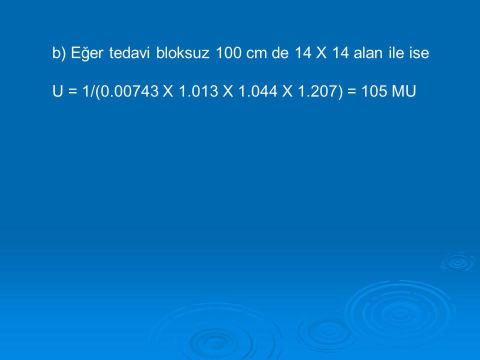 b) Eğer tedavi bloksuz 100 cm de 14 X 14 alan ile ise U = 1/(0.00743 X 1.013 X 1.044 X 1.207) = 105 MU