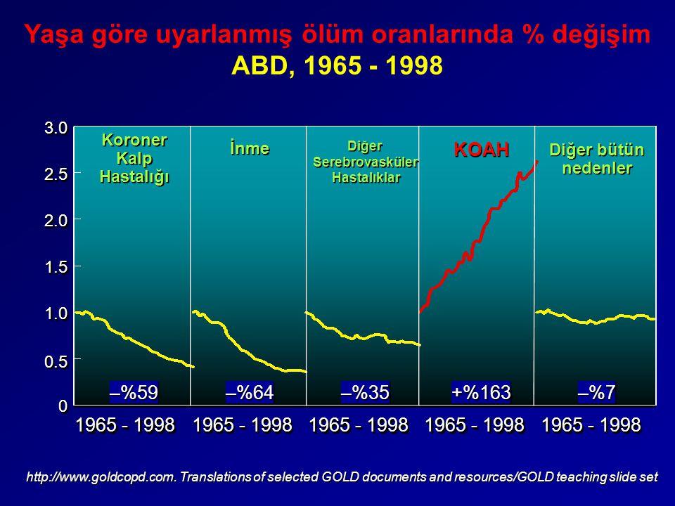 00 0.50.5 1.01.0 1.51.5 2.02.0 2.52.53.03.0 1965 - 1998 –%59 –%64 –%35 +%163 –%7–%7–%7–%7 –%7–%7–%7–%7 Koroner Kalp Hastalığı İnme Diğer Serebrovaskül