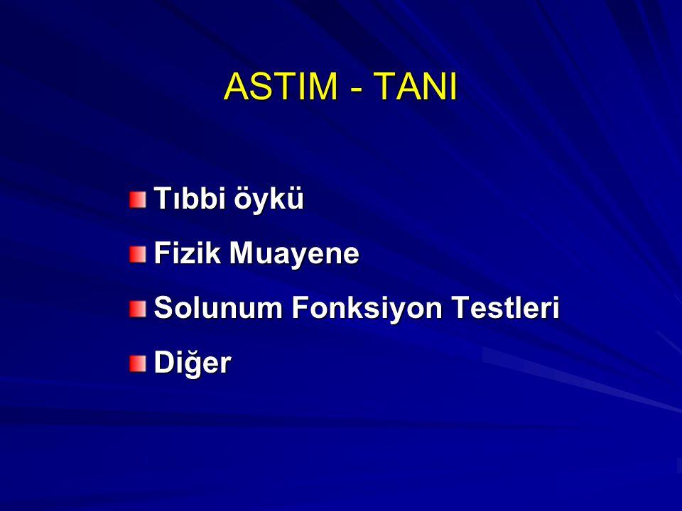 ASTIM - TANI Tıbbi öykü Fizik Muayene Solunum Fonksiyon Testleri Diğer