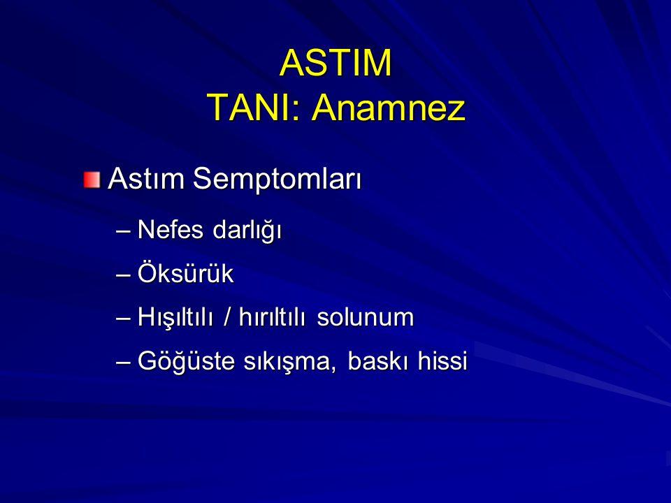ASTIM TANI: Anamnez Astım Semptomları –Nefes darlığı –Öksürük –Hışıltılı / hırıltılı solunum –Göğüste sıkışma, baskı hissi