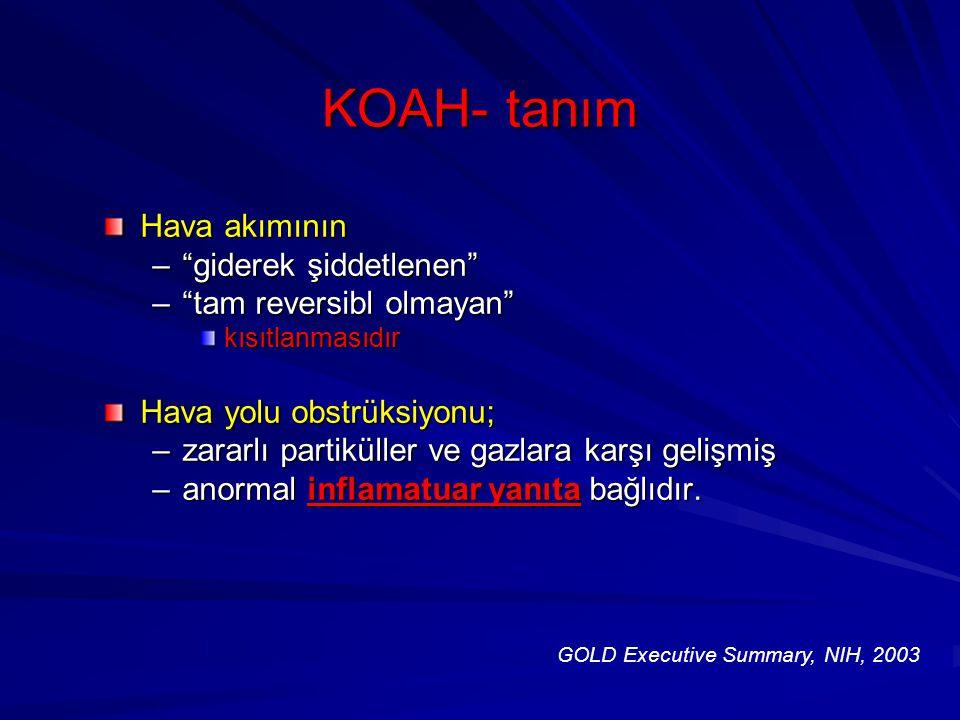 """KOAH- tanım Hava akımının –""""giderek şiddetlenen"""" –""""tam reversibl olmayan"""" kısıtlanmasıdır Hava yolu obstrüksiyonu; –zararlı partiküller ve gazlara kar"""