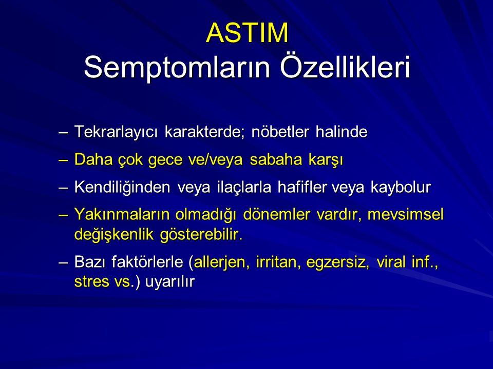 ASTIM Semptomların Özellikleri –Tekrarlayıcı karakterde; nöbetler halinde –Daha çok gece ve/veya sabaha karşı –Kendiliğinden veya ilaçlarla hafifler v