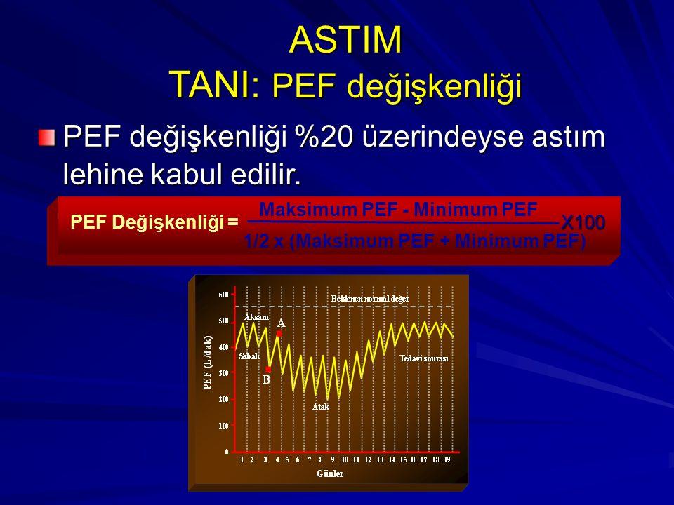 ASTIM TANI: PEF değişkenliği PEF değişkenliği %20 üzerindeyse astım lehine kabul edilir. X100PEF Değişkenliği = Maksimum PEF - Minimum PEF 1/2 x (Maks