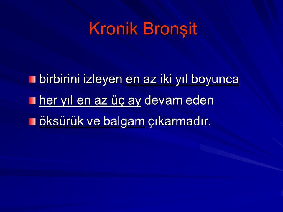 Kronik Bronşit birbirini izleyen en az iki yıl boyunca her yıl en az üç ay devam eden öksürük ve balgam çıkarmadır.