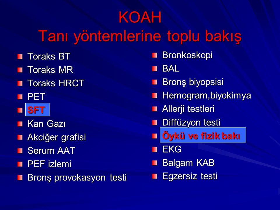KOAH Tanı yöntemlerine toplu bakış Toraks BT Toraks MR Toraks HRCT PETSFT Kan Gazı Akciğer grafisi Serum AAT PEF izlemi Bronş provokasyon testi Bronko