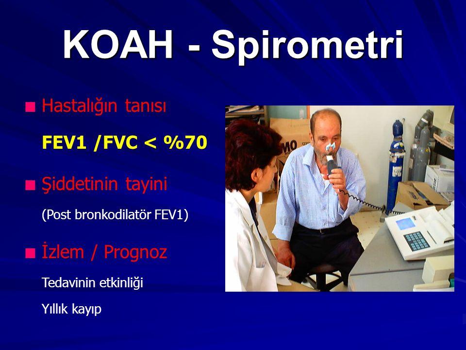 KOAH - Spirometri Hastalığın tanısı FEV1 /FVC < %70 Şiddetinin tayini (Post bronkodilatör FEV1) İzlem / Prognoz Tedavinin etkinliği Yıllık kayıp