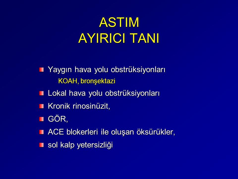 ASTIM AYIRICI TANI Yaygın hava yolu obstrüksiyonları KOAH, bronşektazi Lokal hava yolu obstrüksiyonları Kronik rinosinüzit, GÖR, ACE blokerleri ile ol
