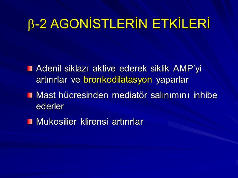  -2 AGONİSTLERİN ETKİLERİ Adenil siklazı aktive ederek siklik AMP'yi artırırlar ve bronkodilatasyon yaparlar Mast hücresinden mediatör salınımını inh