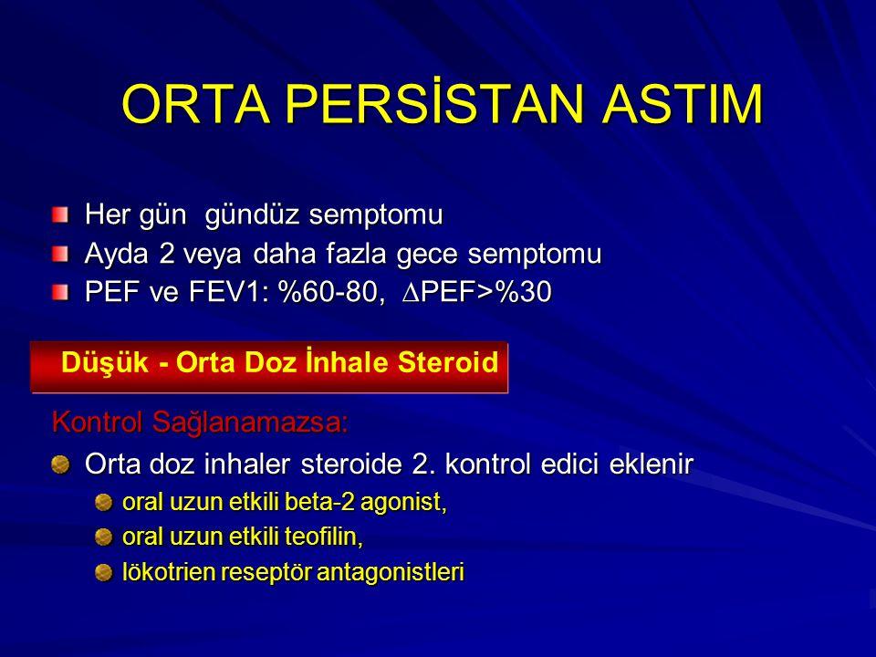 ORTA PERSİSTAN ASTIM ORTA PERSİSTAN ASTIM Her gün gündüz semptomu Ayda 2 veya daha fazla gece semptomu PEF ve FEV1: %60-80,  PEF>%30 Kontrol Sağlanam