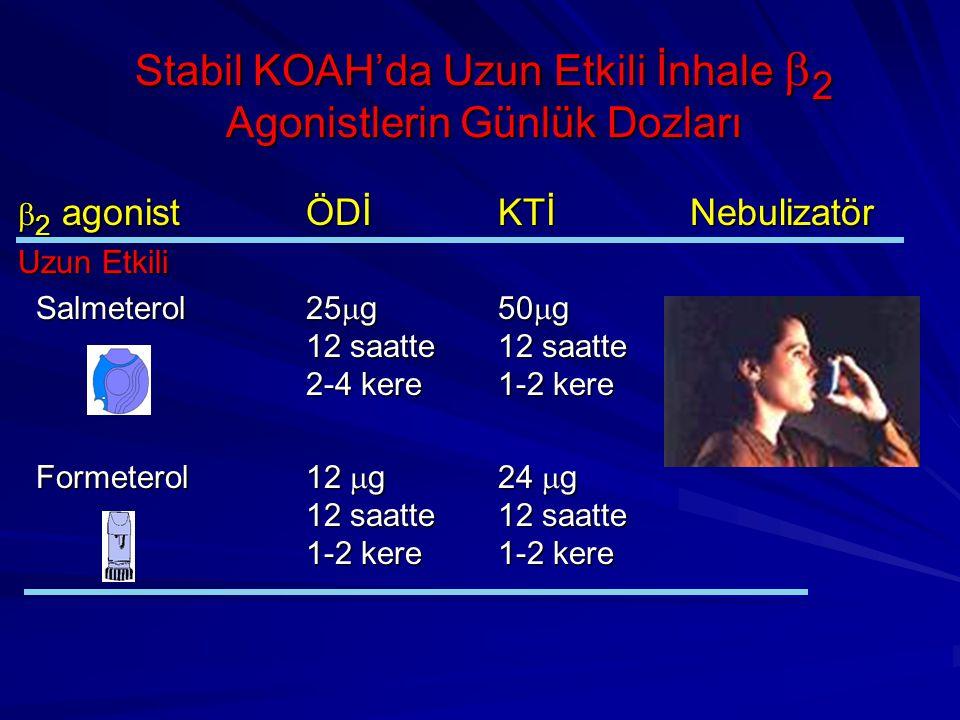 Stabil KOAH'da Uzun Etkili İnhale  2 Agonistlerin Günlük Dozları  2 agonistÖDİKTİNebulizatör Uzun Etkili Salmeterol25  g50  g 12 saatte12 saatte 2