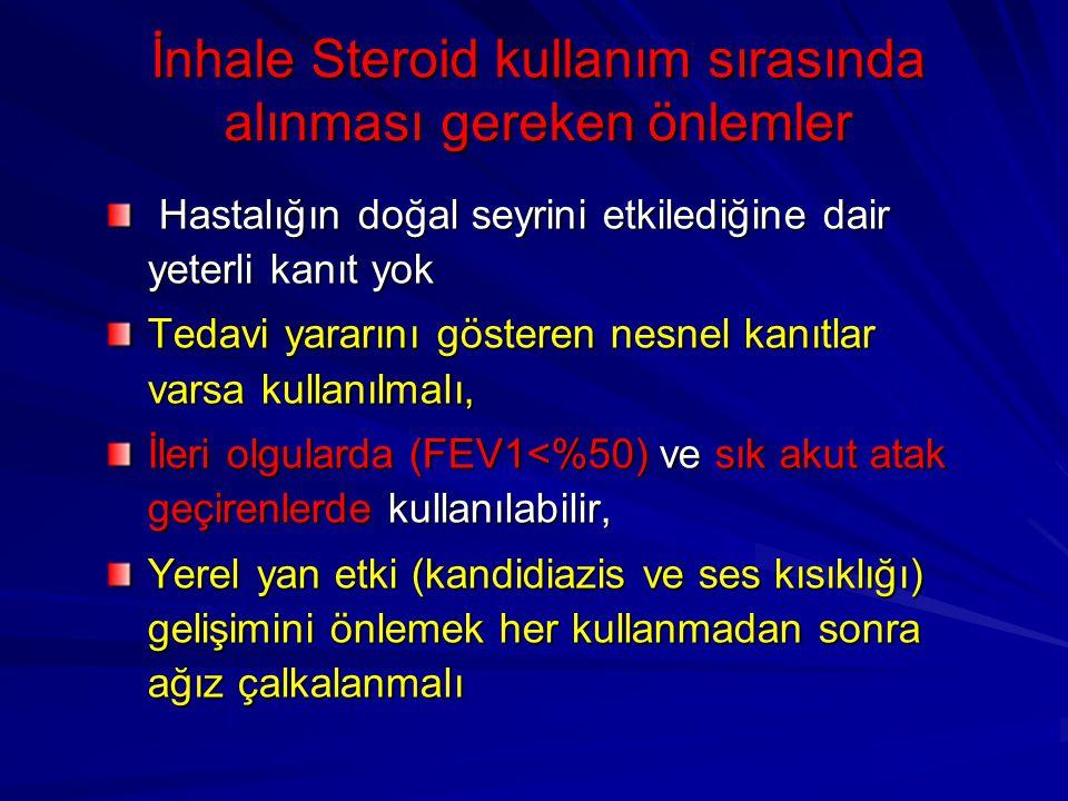 İnhale Steroid kullanım sırasında alınması gereken önlemler Hastalığın doğal seyrini etkilediğine dair yeterli kanıt yok Hastalığın doğal seyrini etki