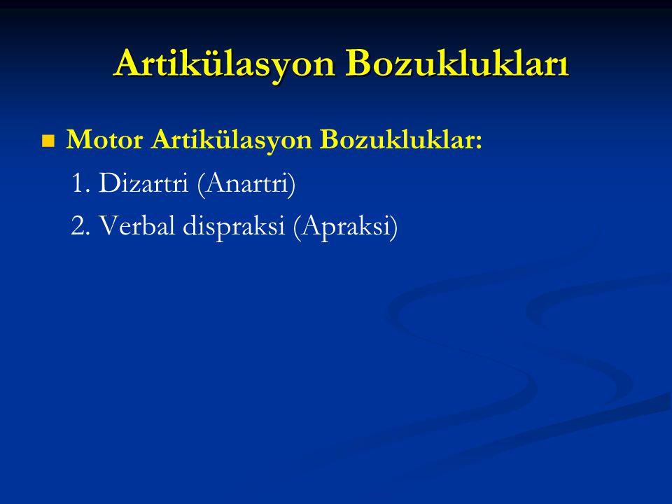 Motor Konuşma Bozuklukları ve Nöroloji Alt ve üst motor nöron bozuklukları (Bir ya da daha fazla kraniyal sinirde) Alt ve üst motor nöron bozuklukları