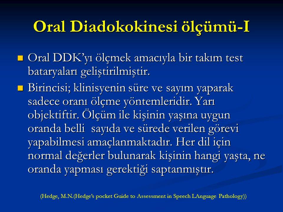Adiadokokinesi- Disdiadokokinesi Art arda yapılması gereken hızlı kas hareketlerindeki güçsüzlük, yetersizliktir. Art arda yapılması gereken hızlı kas