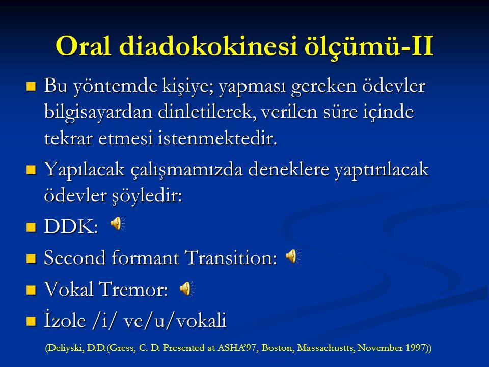 Oral diadokokinesi ölçümü-II İkinci yöntem; daha objektif bir yöntem olan komputerize tekniklerdir. İkinci yöntem; daha objektif bir yöntem olan kompu