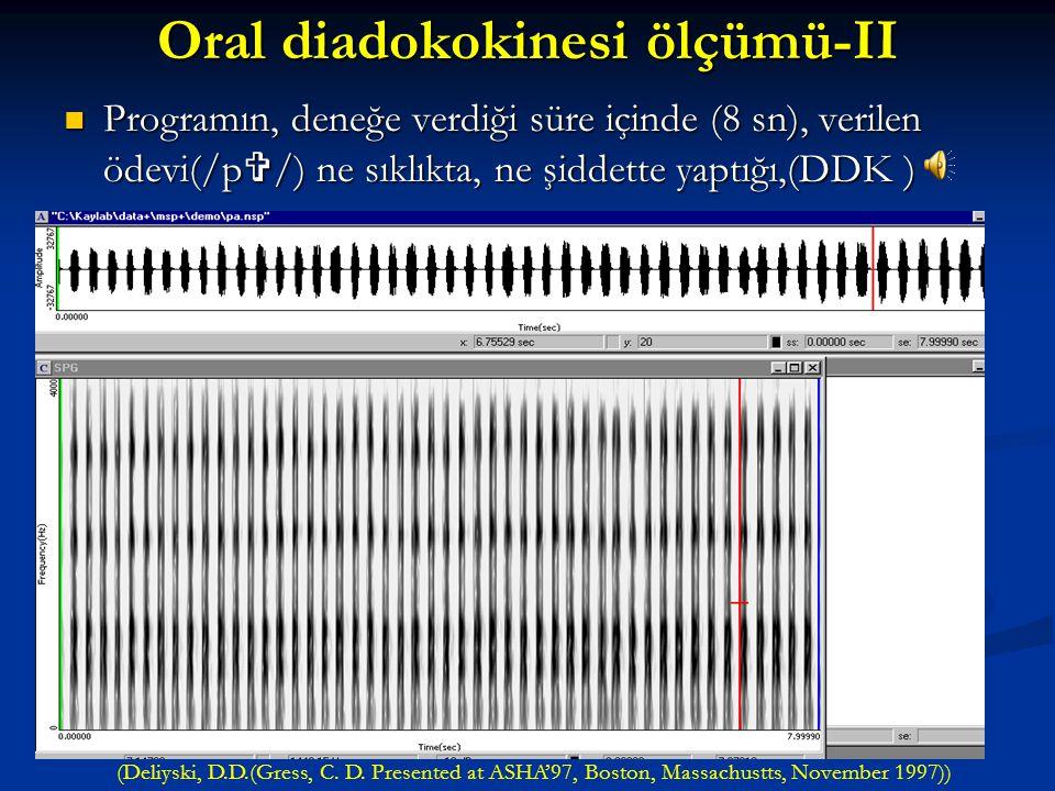 Oral diadokokinesi ölçümü-II Bu yöntemde kişiye; yapması gereken ödevler bilgisayardan dinletilerek, verilen süre içinde tekrar etmesi istenmektedir.