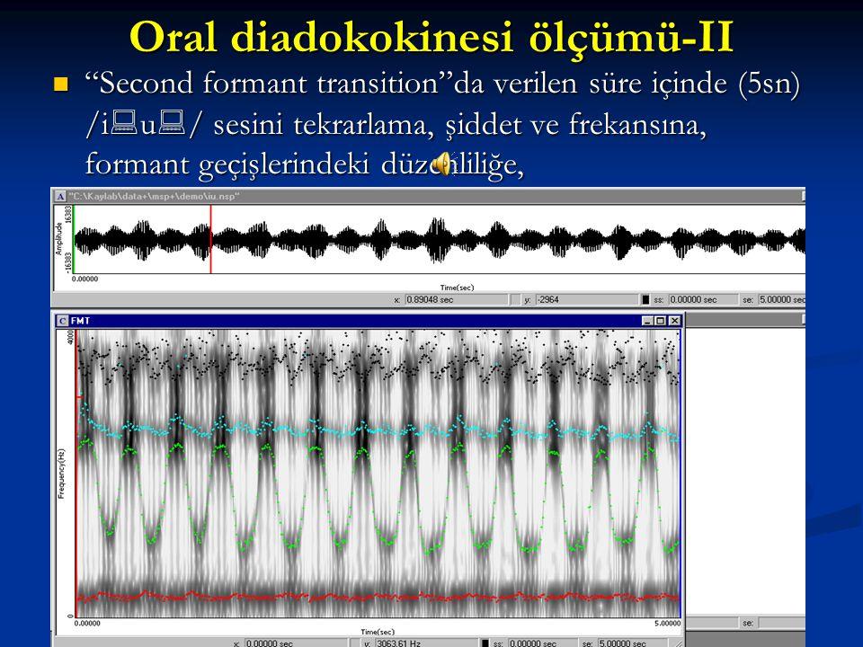 Oral diadokokinesi ölçümü-II Programın, deneğe verdiği süre içinde (8 sn), verilen ödevi(/p  /) ne sıklıkta, ne şiddette yaptığı,(DDK ) Programın, de