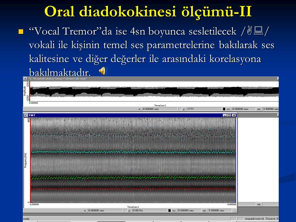 """Oral diadokokinesi ölçümü-II """"Second formant transition""""da verilen süre içinde (5sn) /i  u  / sesini tekrarlama, şiddet ve frekansına, formant geçiş"""