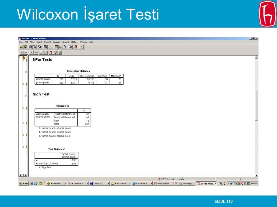 SLIDE 110 Wilcoxon İşaret Testi